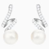 Gabriella Pearl Pierced Earrings, White, Rhodium plated - Swarovski, 5528447