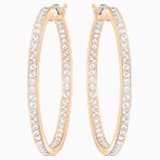 Sommerset Hoop Pierced Earrings, White, Rose-gold tone plated - Swarovski, 5528459