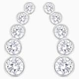 Harley Pierced Earrings, White, Rhodium plated - Swarovski, 5528502