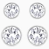 Harley Pierced Earring Set, White, Rhodium plated - Swarovski, 5528504