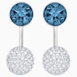 Forward Pierced Earring Jackets, Blue, Palladium plated - Swarovski, 5528514