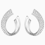 Exist Pierced Earrings, White, Rhodium plated - Swarovski, 5529348