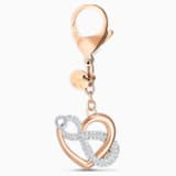 Infinite Bag charm, White, Rose-gold tone plated - Swarovski, 5530885