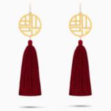 Full Blessing Fu 穿孔耳环, 红色, 镀金色调 - Swarovski, 5531882