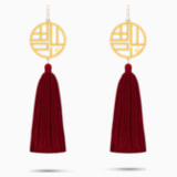 Full Blessing Fu 穿孔耳環, 紅色, 鍍金色色調 - Swarovski, 5531882