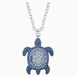 Mustique Sea Life Turtle 链坠, 大码, 蓝色, 镀钯 - Swarovski, 5533737