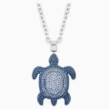 Pendentif Mustique Sea Life Turtle, large, bleu, métal plaqué palladium - Swarovski, 5533737