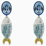 Mustique Sea Life Fish 穿孔耳环, 蓝色, 镀钯 - Swarovski, 5533738