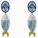 Mustique Sea Life Fish 이어링, 블루, 팔라듐 플래팅 - Swarovski, 5533738