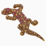 Mustique Sea Life Geko Brosche, braun, vergoldet - Swarovski, 5533739