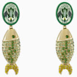 Mustique Sea Life Fish Pierced Earrings, Green, Gold-tone plated - Swarovski, 5533747