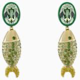 Mustique Sea Life Fish 穿孔耳环, 绿色, 镀金色调 - Swarovski, 5533747