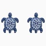 Mustique Sea Life-steekoorbellen schildpad, Blauw, Palladium verguldsel - Swarovski, 5533748