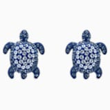 Mustique Sea Life Turtle Pierced Earrings, Blue, Palladium plated - Swarovski, 5533748
