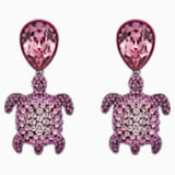Mustique Sea Life Turtle Pierced Earrings, Pink, Palladium plated - Swarovski, 5533755