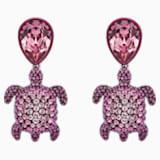 Boucles d'oreilles Mustique Sea Life Turtle, rose, métal plaqué palladium - Swarovski, 5533755