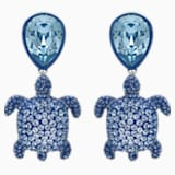 Mustique Sea Life Turtle Pierced Earrings, Blue, Palladium plated - Swarovski, 5533760