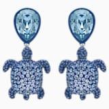 Mustique Sea Life Turtle 穿孔耳环, 蓝色, 镀钯 - Swarovski, 5533760
