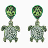 Mustique Sea Life Turtle Pierced Earrings, Green, Gold-tone plated - Swarovski, 5533766