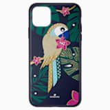 Etui na smartfona z ramką ochronną z tropikalną papugą, iPhone® 11 Pro Max, ciemne wielokolorowe - Swarovski, 5533976