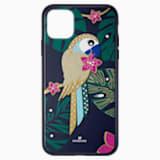 Pouzdro na chytrý telefon Tropical Parrot s ochranným okrajem, iPhone® 11 Pro Max, tmavé, vícebarevné - Swarovski, 5533976