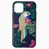 Custodia per smartphone con bordi protettivi Tropical Parrot, iPhone® 11 Pro, multicolore scuro - Swarovski, 5534015
