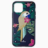 Etui na smartfona z ramką ochronną z tropikalną papugą, iPhone® 11 Pro, ciemne wielokolorowe - Swarovski, 5534015