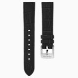 Pasek do zegarka 20 mm, skóra z obszyciem, czarny, stal nierdzewna - Swarovski, 5534392
