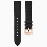 Pasek do zegarka 20 mm, skóra z obszyciem, czarny, powłoka PVD w odcieniu różowego złota - Swarovski, 5534395