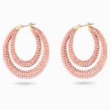 Tigris Hoop Pierced Earrings, Pink, Gold-tone plated - Swarovski, 5534512