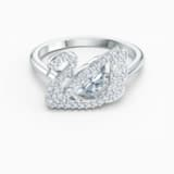Dancing Swan 戒指, 白色, 鍍白金色 - Swarovski, 5534843