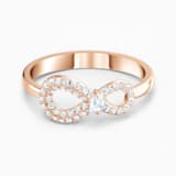 Swarovski Infinity Ring, White, Rose-gold tone plated - Swarovski, 5535405