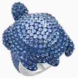 Mustique Sea Life Turtle 戒指, 大碼, 藍色, 鍍鈀色 - Swarovski, 5535432