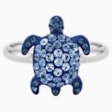 Mustique Sea Life Turtle Ring, Small, Blue, Palladium plated - Swarovski, 5535436