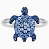 Mustique Sea Life Turtle Ring, Small, Blue, Palladium plated - Swarovski, 5535436