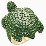 Mustique Sea Life Turtle 戒指, 大碼, 綠色, 鍍金色色調 - Swarovski, 5535552