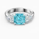 Sparkling 戒指, 海藍色, 鍍銠 - Swarovski, 5535592