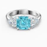 Sparkling 戒指, 海蓝色, 镀铑 - Swarovski, 5535603