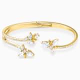 Botanical brede armband, Wit, Goudkleurige toplaag - Swarovski, 5535782