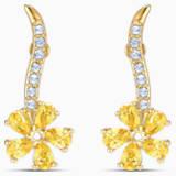 Botanical Flower Pierced Earrings, Yellow, Gold-tone plated - Swarovski, 5535796