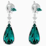 Botanical Pierced Earrings, Green, Rhodium Plated - Swarovski, 5535817