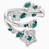Botanical nyitott gyűrű, zöld, ródium bevonattal - Swarovski, 5535825