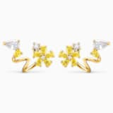 Botanical Wrap Pierced Earrings, Yellow, Gold-tone plated - Swarovski, 5535828