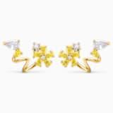 Botanical Wrap 穿孔耳環, 黃色, 鍍金色色調 - Swarovski, 5535828