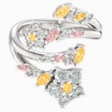 Botanical Open Ring, Light multi-coloured, Rhodium plated - Swarovski, 5535879