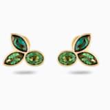 Bamboo Stud Pierced Earrings, Green, Gold-tone plated - Swarovski, 5535883