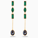 Bamboo Short Pierced Earring Jackets, Dark multi-coloured, Gold-tone plated - Swarovski, 5535884