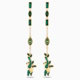 Bamboo Panda 穿孔耳環, 綠色, 鍍金色色調 - Swarovski, 5535886