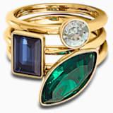 Bamboo Ring Set, Dark multi-colored, Gold-tone plated - Swarovski, 5535887