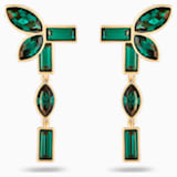 Bamboo 穿孔耳環花托, 綠色, 鍍金色色調 - Swarovski, 5535896